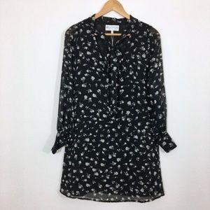 Wildfox Dresses - Wildfox Black Floral Shift Dress Sheer Tie Neck